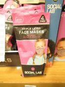 6 x packs (4 masks per pack) of Girls Social Lab Triple Layer Organic Cotton Face Masks RRP £12.99