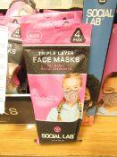 9 x packs (4 masks per pack) of Girls Social Lab Triple Layer Organic Cotton Face Masks RRP £12.99