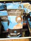 10 x packs (4 masks per pack) of Boys Social Lab Triple Layer Organic Cotton Face Masks RRP £12.99
