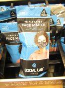 6 x packs (4 masks per pack) of Boys Social Lab Triple Layer Organic Cotton Face Masks RRP £12.99