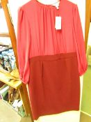 L K Bennett London Suzette Burgundy Dress size 18 RRP £325 new with tag see image for design