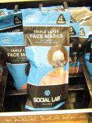 8 x packs (4 masks per pack) of Boys Social Lab Triple Layer Organic Cotton Face Masks RRP £12.99