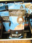 7 x packs (4 masks per pack) of Boys Social Lab Triple Layer Organic Cotton Face Masks RRP £12.99