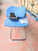 Queen Rome low back visitor chromed framed black plastic blue cushioned chair, new and boxed. RRP £