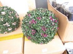 4x Purple Flower Topiary Garden Basket - Unused & Boxed.