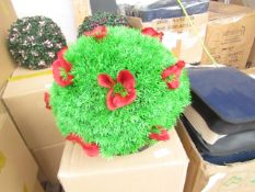 2x XL Red Flower Topiary garden Basket - Unused & Boxed.