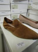 L K Bennett London Raven Tan Suede Shoes size 37 RRP £175 new & boxed see image for design
