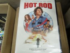 Box of approx 20x Hot Rod DVD's, all new and sealed.