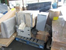 PALLET OF METAL FILING CABINETS. ALL UNCHECKED