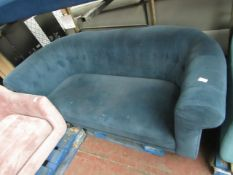 | 1X | MADE.COM 2 SEATER BUTTON BACK, TEAL SOFA | NEEDS A GOOD CLEAN & HAS IMPERFECTIONS ON THE
