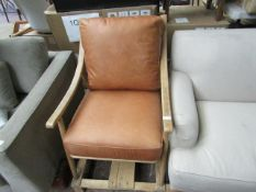 | 1X | MADE.COM WOODEN AND LEATHER ARMCHAIR | NO MAJOR DAMAGE | RRP £550 |