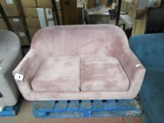 | 1X | MADE.COM TUBBY 2 SEATER SOFA, HEATHER PINK VELVET | HAS MARKS ON THE MATERIAL SO WILL NEED