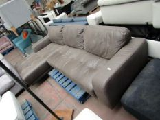 | 1X | MADE.COM LUCIANO RIGHT HAND FACING END CHAISE CORNER SOFA, TRUFFLE BROWN LEATHER | NO MAJOR