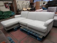 | 1X | MADE.COM ORSON LEFT HAND FACING CHAISE END CORNER SOFA, CHIC GREY | APPEARS TO BE STAINS IN
