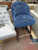 | 1X | MADE.COM MARGOT BAR STOOL, ELECTRIC BLUE VELVET | NEEDS A CLEAN AND HAS IMPERFECTIONS ON