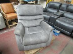 | 1X | THOMASVILLE LAZY BOY ARM CHAIR | SOFT GREY BENSON LEATHER | UNCHECKED & NO BOX | RRP |