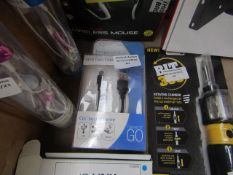 2x Items being - 1x usb data cable, unchecked & boxed - 1x tempered glass creen protector for iphone