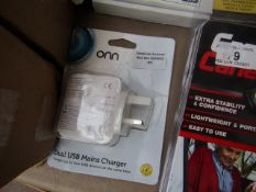 Onn - Dual USB Mains Charger - Packaging Damaged.