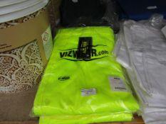 3x Vizwear - Hi-Vis Yellow Cargo Work Trousers - Size 4XL - Unused & Packaged.