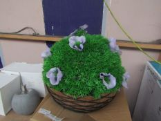 Purple Rose Artificial Hanging Basket - Unused & Boxed.