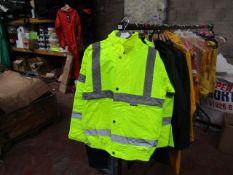 Vizlite - 3M Scotchlite Reflective Material Hi-Vis Yellow Work Jacket With Hood - Size Small -