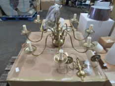 Chelsom Brass effect chandelier with matching twin arm wall light, looks unused with box