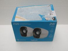 Logitech set of 2x speakers, unchecked and boxed.