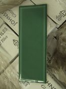 60 packs of 17, 400x150 Johnson Glazed Bevelled Edge Wall Tiles, Thyme (green) in colour, these