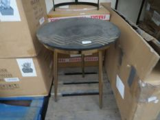   1X   COX & COX IRON AND MARBLE SIDE TABLE, UNCHECKED AND NO BOX   RRP WHEN SET OF 2 £350  