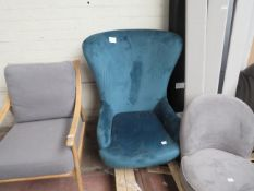 | 1X | MADE.COM TUSCAN TEEL VELVET ARMCHAIR | NO MAJOR DAMAGE AND NO FEET | PALLET REF 1A20097 | RRP