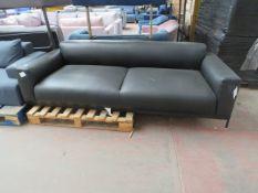 1 x Made.com Presley 3 Seater Sofa, Denver Black Leather RRP œ1099 SKU MAD-SOFPLY001BLA-UK TOTAL RRP