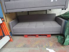 | 1X | MADE.COM 3 SEATER FABRIC SOFA | HAS A SMALL REPAIRABLE TEAR AT THE FRONT AND MISSING FEET |