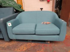 | 1X | MADE.COM BLUE TUBBY LOVE SEAT | NO MAJOR DAMAGE AND INCLUDES FEET | RRP £449 |