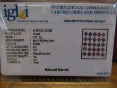 Natural (Untreated- Unheated) – Rhodolite Garnet – 4.94 Carats – 100 pieces – Round Diamond cut.