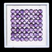 IGL&I Certified - Natural Brazilian Amethyst - 78.75 Carats - 50 Pieces - Checkerboard Diamond round