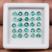 IGL&I Certified - Natural Colombian Emeralds - 2.10 Carats - 25 Pieces - Diamond round cut - Average