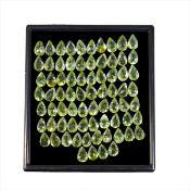 IGL&I Certified - Natural Peridot - 33.45 Carats - 74 Pieces - Pear Cut - Average retail value £11,