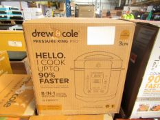   1x   DREW AND COLE PRESSURE KING PRO 8 IN 1 DIGITAL PRESSURE COOKER   PROFESSIONALLY REFURBISHED