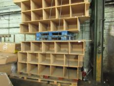 13 SETS OF MDF PIDGEON HOLES. EACH UNIT MEASURES 245CM X 62CM X 40CM. THESE HAVE BEEN USED BUT ARE