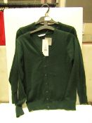 2x girls 2piece school cardigan green - size 10/11 - new but might have security tags on.