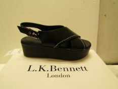 L K Bennett London Sima Black Veg Leather Shoes size 38 RRP £250 new & boxed see image for design