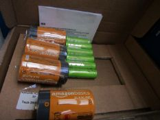 Pack containing 4x D batteries and 6x AA rechargable batteries