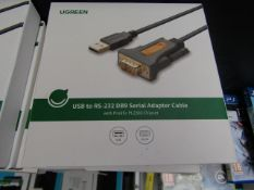 uGreen Usb to RS-232 DB9 serial adaptor cable, new and boxed