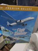 Microsoft Flight Simulator premium deluxe edition, this is a download code and we are unsure if
