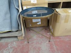 | 1X | COX AND COX ENAMEL GOLD AND BLUE TABLE | SEE IMAGE FOR CONDITION | RRP £79 |