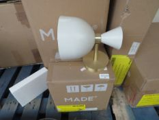1 x Made.com Keeva Wall Lamp Cream & Brushed Brass RRP £39 complete and boxed. Please note item