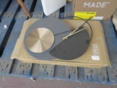 1 x Made.com Levvy Pendulum Clock Grey & Black RRP £49 SKU MAD-CLKLEV001ZBS-UK TOTAL RRP £49