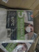 1x Box Containing 50x disposable face masks - New & Packaged.