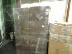 PALLET OF 4 BROWN LOFT FAUX LEATHER CHAIRS. UNCHECKED BUT NO VISIBLE DAMAGE