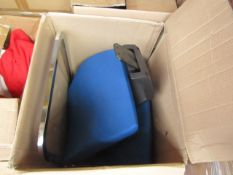 Queen Rome low back visitor chromed framed black plastic blue cushioned chair - New & Boxed. RRP £